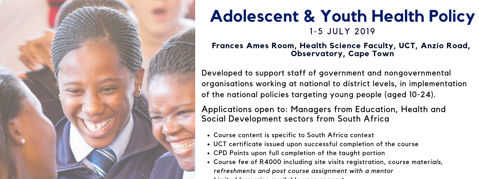 Adolescent & Youth Health Policy Short Course | 1 to 5 July 2019